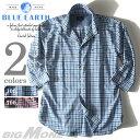 【大きいサイズ】【メンズ】[3L・4L・5L]BLUE EARTH(ブルーアース) 7分袖チェックシャツ azsh-1343
