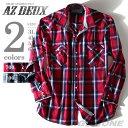 【大きいサイズ】【メンズ】[3L・4L・5L・6L]AZ DEUX ダブルフラップ長袖チェックシャツ azsh-1336