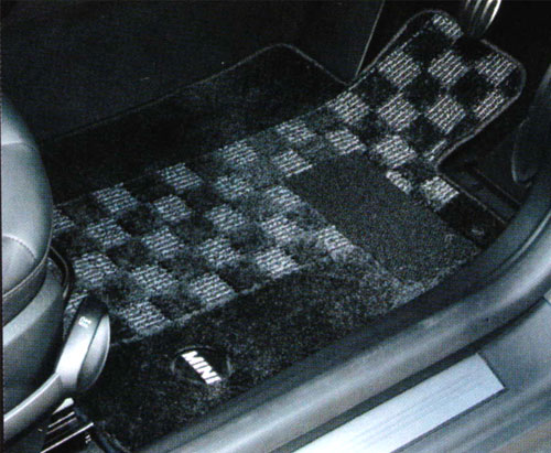 "【BMW MINI 純正】【送料無料】 MINI F56(3 DOOR)用 フロアマット・セット ""シャギー・チェック""(ブラック/グレー)"