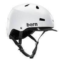 bern - MACON VISOR ALL SEASON JAPANFIT サテンホワイト / バーン メーコン BMX スケート ヘルメットの画像