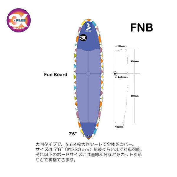 【送料無料】【あす楽対応】 デッキパッド クリアデッキ 3X+PLUS CLEAR DECK / スリーエックスクリアデッキ FNB FunBoard Set サーフィン用デッキパッド