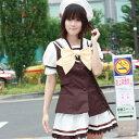イエローリボン学園服 白×ブラウン costume267 ゴスロリ♪ロリータ♪パンク♪コスプレ♪コスチューム♪メイド