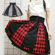 制服 ハロウィン ゴスロリ ロリータ ゴシック ダイヤ柄スカート コスプレ 発表会 S〜2Lサイズあり 2色展開 L543