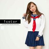 萌えセーラー長袖 コスプレ セーラー服 制服 女子高生 ブレザー ハロウィン S〜5Lサイズあり 3点セット costume242