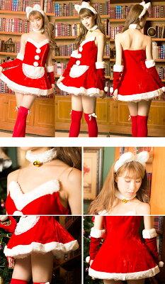 サンタコスプレ・クリスマス衣装激安【ワンピース】サンタ衣装サンタコスサンタクロースクリスマスコスチューム仮装パーティー衣装【Bodylineサンタ★2015】[小物]
