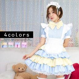パフェメイド コスプレ メイド 衣装 アリス 大人用 ロリータ M〜2Lサイズあり 4色展開 4点セット costume834