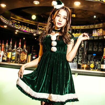 サンタコスチュームパイロンガールコスプレクリスマスセクシー衣装ハロウィンM〜2Lサイズあり4色展開3点セットcostume357ハロウィン衣装
