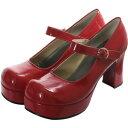 プレーンベーシック厚底パンプス エナメル赤 shoes109 ゴスロリ♪ロリータ♪パンク♪コスプレ♪コスチューム♪メイド