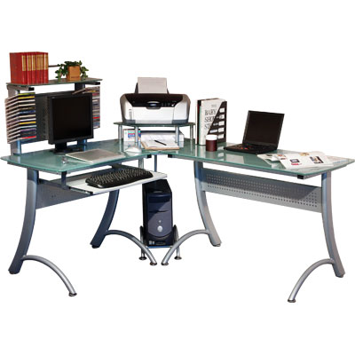 パソコンデスク デスク L字型 ガラス 収納 コーナー パソコンラック 学習机 勉強机 キーボードスライダー l字デスク パソコン机 オフィス プリンター台 サーバーラック おしゃれ