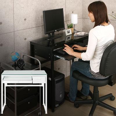 パソコンデスク 幅85cm パソコンラック コンパクト PCラック ワークデスク PCデスク ガラスデスク キーボードスライダー 机 つくえ 引出し 引き出し 収納 パソコン机 書斎 子供 勉強 ノート おしゃれ あす楽対応