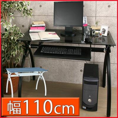 パソコンデスク 110cm PCデスク ガラス パソコンラック 北欧 pcラック 家具 キ…...:bon-kagu:10020058