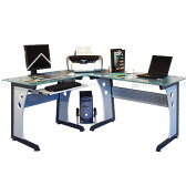 ワークデスク パソコン机 デスク パソコンデスク L字型 カッコいい PCデスク 学習机 勉強机 つくえ テーブル ガラス コーナー オフィス 送料無料 L ikea i おしゃれ