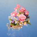 NEW★ガラスの馬車付/ピンクのばらとミニデージー(造花)【0126PUP10F】