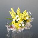 NEW★ガラスの馬車付/イエローのリサフラワー(造花)【0126PUP10F】