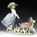 リヤドロ[Lladro リアドロ 陶器人形 置物] 犬と少女 仔犬たちの行進#ldr-6784