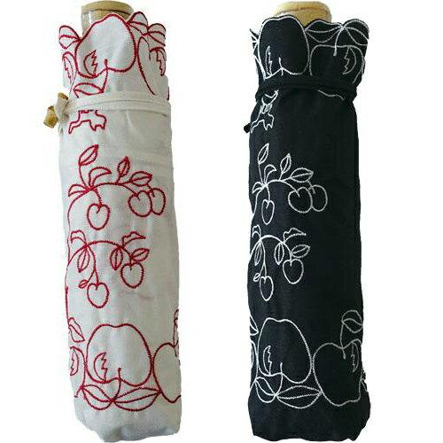 『ATSUKO MATANO 』またのあつこ日傘 晴雨兼用刺繍 パラソル ミニりんご姫 折りたたみ傘折り畳み w.p.c