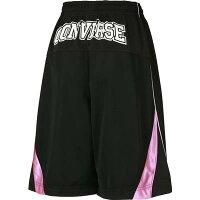 CONVERSE(コンバース)ウィメンズ バスケット パンツ(ブラック×ホワイト×ピンク)[CB362803-1900] 【バスケットボール】バスケットボールパンツ バスパン プラクティスパンツ プラパン レディースの画像