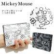 ミッキーマウス 二つ折り財布 L字ファスナー D1037 ディズニー 白黒 モノクロ 日本製【ネコポス届け】