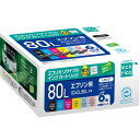 【ポイント20倍】IC6CL80L 互換リサイクルインクカートリッジ 6色パック ECI-E80L-6P エコリカ
