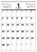 書き込み式月曜始まりシンプルカレンダー「B3タテ」(2017)