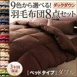9色から選べる!羽毛布団 ダックタイプ 8点セット ベッドタイプ ダブル 040201969