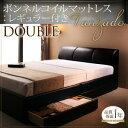 ベッド ダブル 合皮レザーベッド 収納ベッド 高級 ヴァンザード 収納付きベッド 引き出し付きベッド 引出し収納 ヘッドボード ベッド下収納 マットレス下収納 すのこベッド