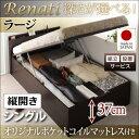 組立設置 国産 ベッド 跳ね上げ 跳ね上げ式ベッド 収納ベッド レナーチ シングル・ラージ・縦開き・オリジナルポケットコイルマットレス付 収納付きベッド 大容量ベッド 棚付き
