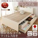 送料無料 お客様組立 日本製_棚・コンセント付き大容量すのこチェストベッド Salvato
