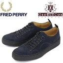 正規取扱店 FRED PERRY (フレッドペリー)XGEORGE COX (ジョージコックス) Wネーム B1179-608 TENNIS SHOE SUEDE スニーカー 608-NAVY FP268