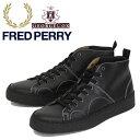 正規取扱店 FRED PERRY (フレッドペリー) X GEORGE COX (ジョージコックス) Wネーム B8289-102 CREEPER MID LEATHER モンキーブーツ BLACK FP306