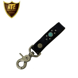 Regular handling HTC(Hollywood Trading Company) #B three-quarters Key Holder(#B three-quarters key ring) black leather x turquoise fs3gm
