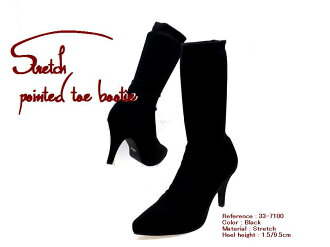 Stretch x pointy toe boots Womens-shoes / boots / short boots / ankle boots / platform / lace-up / Rakuten daily ranking winners