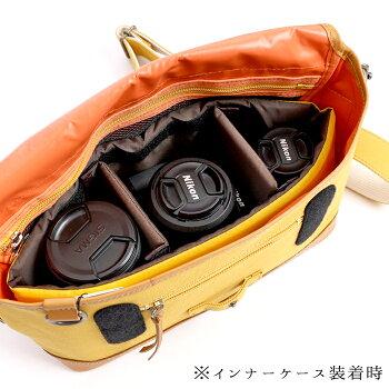 MOUTHマウスカメラバッグ日本製ショルダーバッグインナーケースセットDeliciousmark-1packデリシャスパックMJS11019MJC12024[一眼レフ/ミラーレス/おしゃれ/レンズ2本/帆布/キャンバス/MadeinJAPAN/保護/船形/舟/兼用/男女兼用/かわいい/カメラ女子]