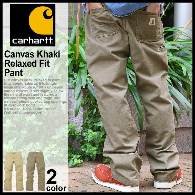 Carhartt メンズ キャンバスカーキ リラックスフィット ストレートパンツ