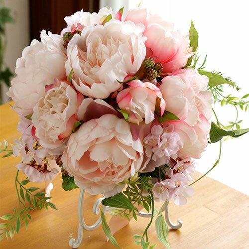 【ウェディングブーケ】ピンクのピオニーと桜のラウンドブーケ【送料無料】【アーティフィシャルフラワー(造花)】