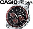 あす楽 カシオ CASIO メンズ 腕時計 100m防水 クオーツ ブラック ステンレス MTP-1374D-5A おすすめ 激レア マルチファンクション カレンダー アナログ ブラック レッド プレゼント