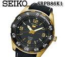 送料無料 SEIKO セイコー5 セイコーファイブ 自動巻き 腕時計 srpb86k1 メンズ ステンレス レザー ベルト ゴールド ブラック 人気 おすすめ スケルトン バック プレゼント モデル