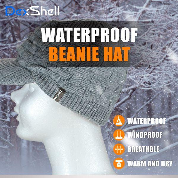 防水 通気 ニット帽 DexShell DH393-G ツバ付き グレー 【メール便発送可】