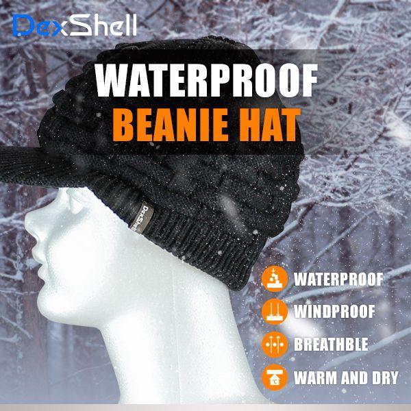 防水 通気 ニット帽 DexShell DH393-B ツバ付き ブラック 【メール便発送可】