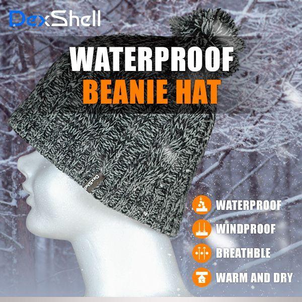 防水 通気 ニット帽 DexShell DH342-G グレー/ブラック ポンポン 【メール便発送可】