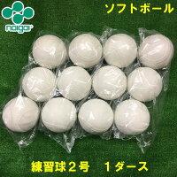 【Naigai/ナイガイ】練習球ソフトボール用2号球(小学生用)12個検定落ちボールスリケン