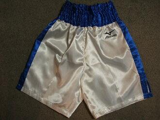 Satin Mizuno boxing pants (white x blue)