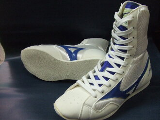Mizuno boxing shoes ( White x blue toes white ) (boxing supplies & ring shoes)