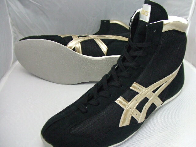 アシックスショート boxing shoes America-ya original color black / gold rim gold