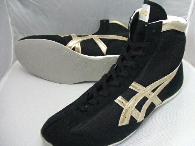 アシックスショート boxing shoes America-ya original color black / gold rim gold