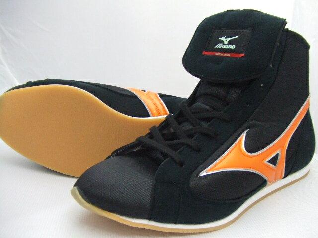 ミズノショート boxing shoes (our original black x orange) ランバードロゴ on original shoe bag with (boxing supplies & ring shoes)