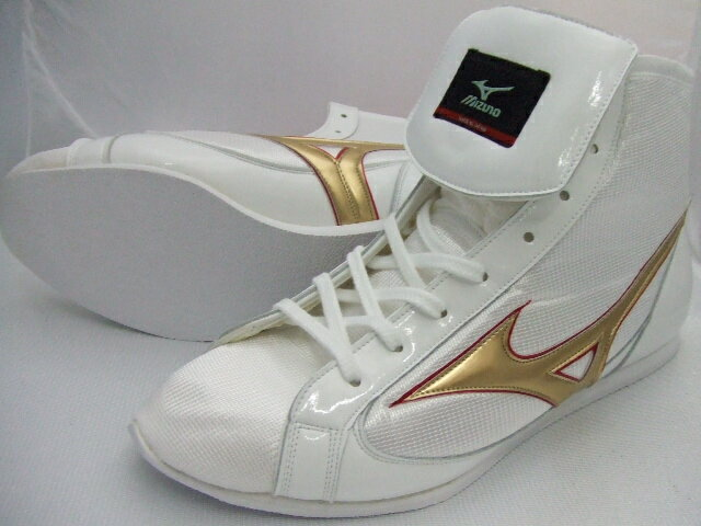 ミズノショート boxing shoes ( our original White x Gold ) ランバードロゴ on original shoe bag with (boxing supplies & ring shoes)