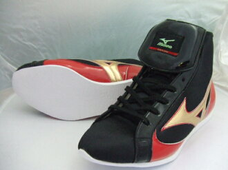 ミズノショート boxing shoes (our original black x red x Gold) ランバードロゴ on original shoe bag with (boxing supplies & ring shoes)