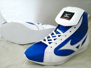 ミズノショート boxing shoes (our original blue x white) (boxing supplies & ring shoes) ランバードロゴ on original shoe bag with