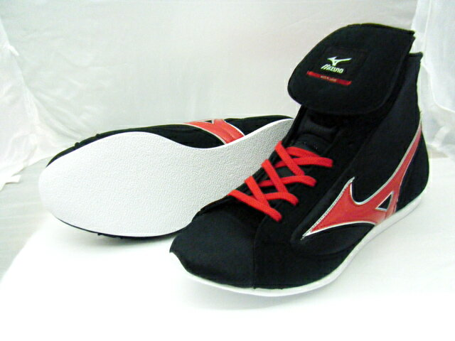 ミズノショート boxing shoes (our original black x red rim silver) ランバードロゴ on original shoe bag with (boxing supplies & ring shoes)